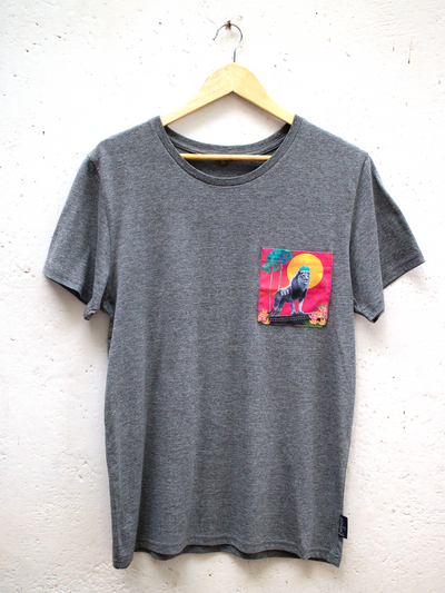Unisex Grey T with Stand Tall Simba Pocket
