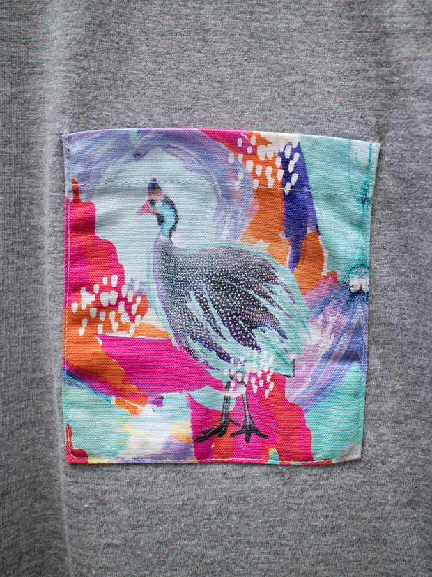 Unisex Grey T with Optimistic Guinea Fowl Pocket