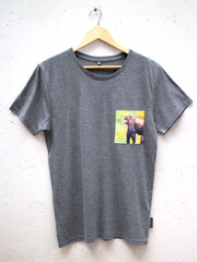 Unisex Grey T with Tropical Gorilla Pocket
