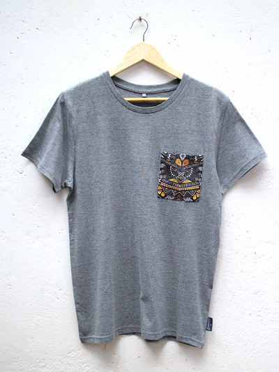 Unisex Grey T with Tribal Pocket