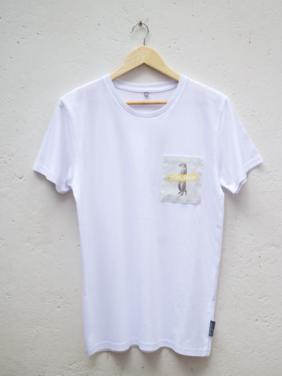 Unisex White T with Sawa Sawa Meerkat Pocket