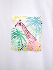 Unisex White T with Summertime Giraffe Pocket