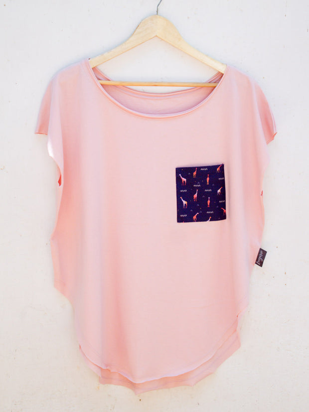 Womens Pink T with Giraffe Promenade Pocket