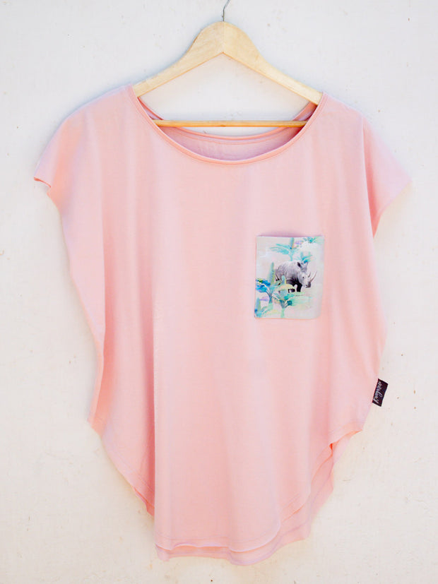 Womens Pink T with Holiday Rhino Pocket