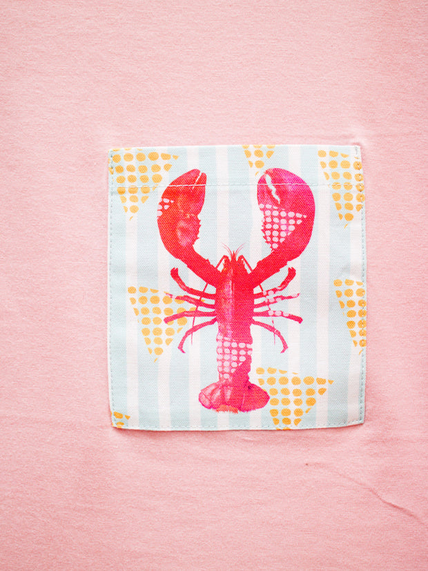 Womens Pink T with Lobster Pocket