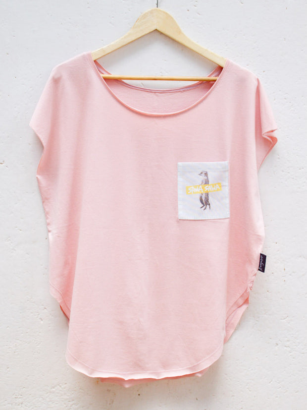 Womens Pink T with Sawa Sawa Meerkat Pocket