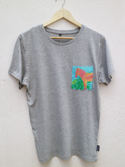 Unisex Grey T with Aqua Zebra Pocket