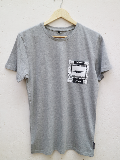 Unisex Grey T with No Worries Crocodile Pocket