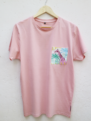 Unisex Pink T with Summer Giraffe Pocket