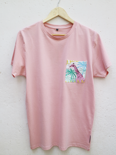 Unisex Pink T with Summertime Giraffe Pocket
