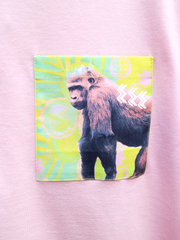 Womens Pink T with Tropical Gorilla Pocket