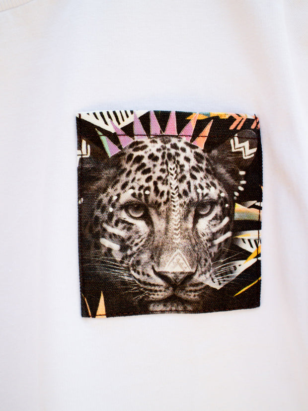Kids White T with Fierce Leopard Pocket