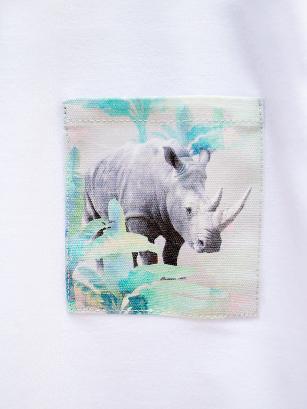 Kids White T with Holiday Rhino Pocket