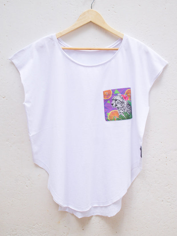 Womens White T with Citrus Cheetah Pocket