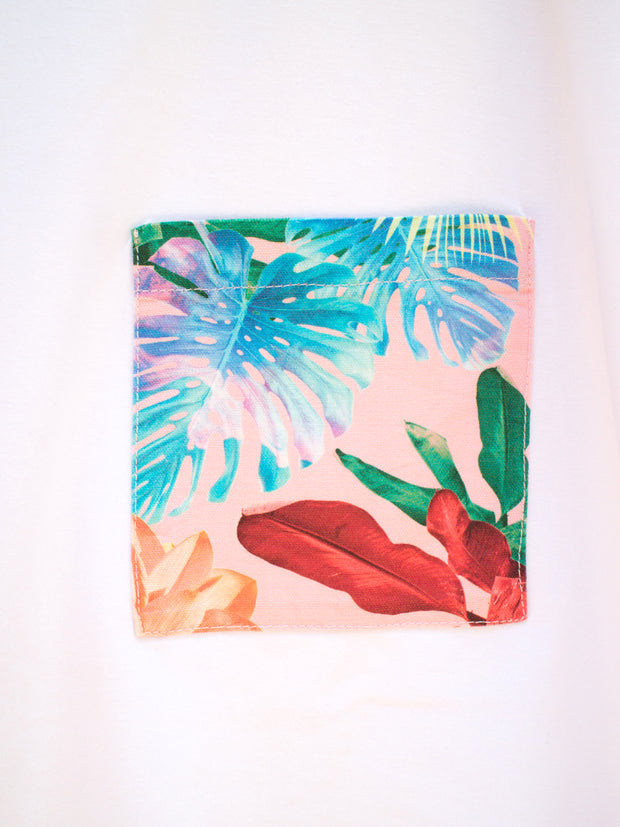 Womens White T with Tropical Pink Pocket