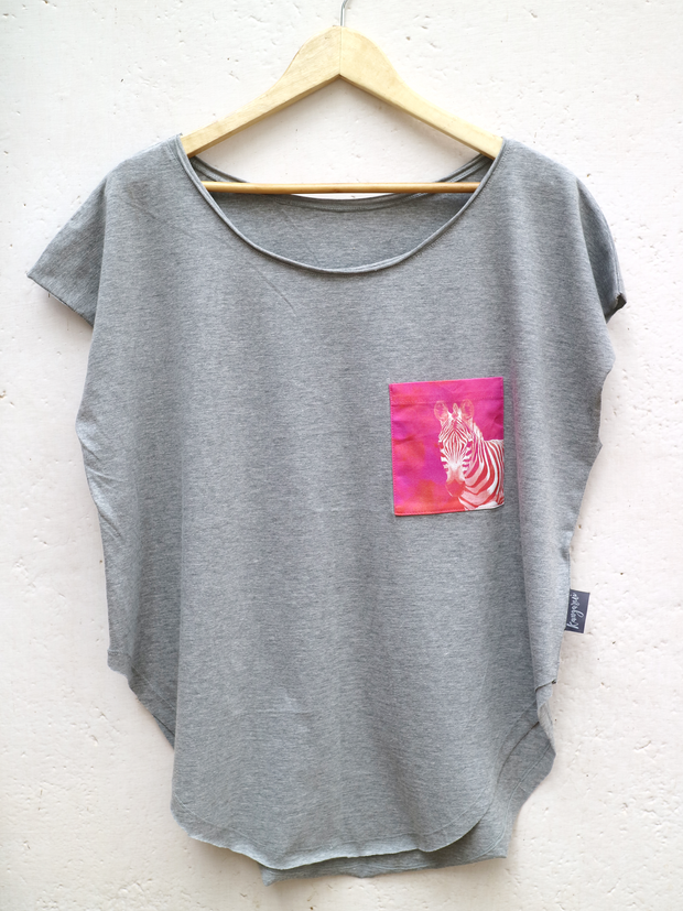Womens Grey T with Rainbow Zebra Pocket