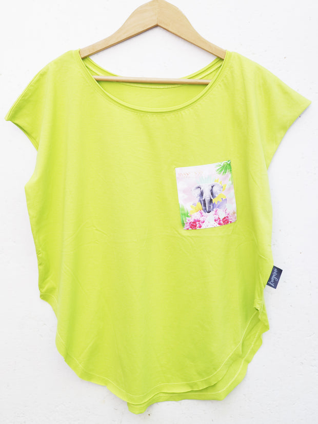 Womens Lime T with Proud Tembo Pocket