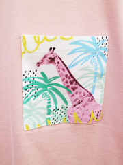 Womens Pink T with Summer Time Giraffe Pocket