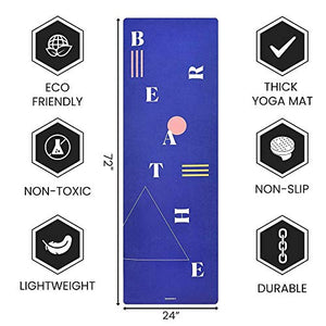 Non Slip hot Yoga 1.5 mm Thick Mat with Premium Carry Strap Free (BREATHE)