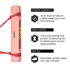 Organic Yoga Mat - 4mm Thick Of Natural Rubber