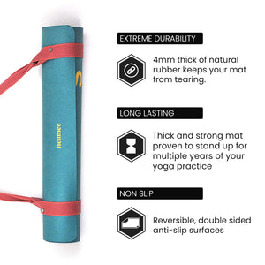 Premium Natural Rubber Suede/Microfiber Yoga Mat with Extra Straps For Free