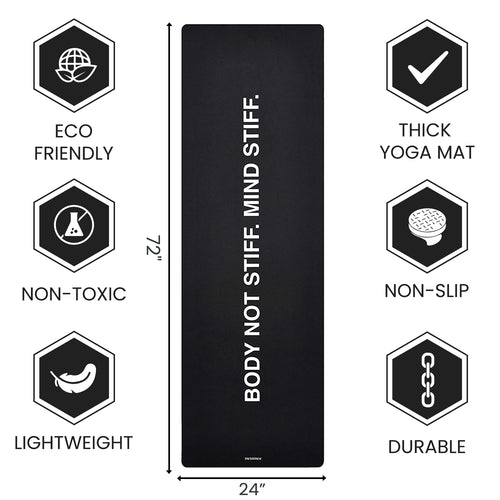 Black Yoga Mat - 1.5 mm Thick Fordable Mat With Free Strap