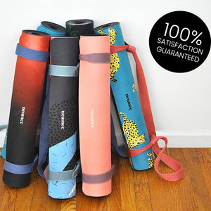 Black Yoga Mat - 1.5 mm Thick Foldable Mat With Free Strap