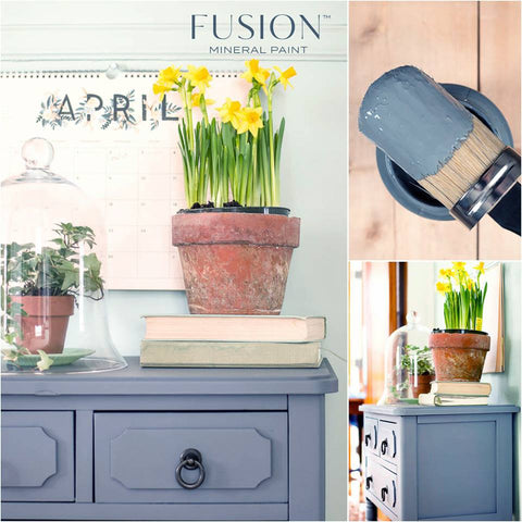 There is a collage of pictures. The largest picture is of the top corner of a dresser painted with Soap Stone Fusion Mineral Paint. It has a stack of books and two potted plants on top of it. There is a large candle on the wall above it that is on the month of April. The next picture is of an open container of Soap Stone pictured from above with a paint brush balanced on top of the container. The brush has paint on its bristles. The third picture is of the same dresser from the first, but pictured from the side.