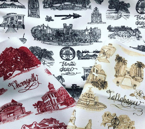 An image of three fabrics: Toile of FSU in black & white, Toile of Tallahassee in red and white, and Toile of Thomasville in sepia tones