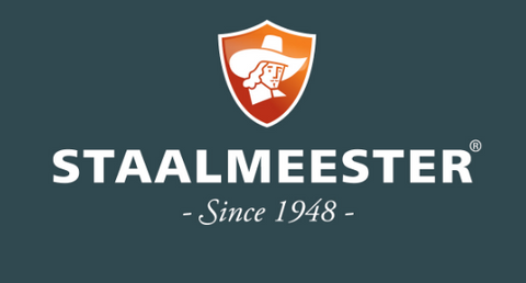 "Pictured is the Stallmeester symbol in an orange crest above the word ""STAALMEESTER"" in all caps. Below that it reads ""Since 1948"" in script. The background is a dark blue and the text is in white."
