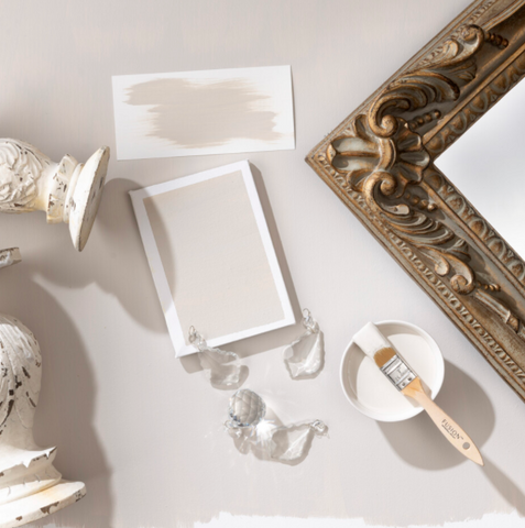Pictured from above, there is a piece of paper painted with Chateau Fusion Mineral Paint.