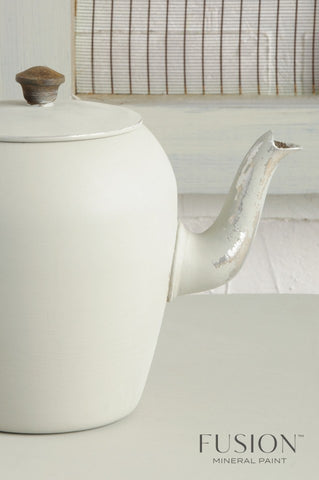 A tea pot painted with Bedford Fusion Mineral Paint is pictured.