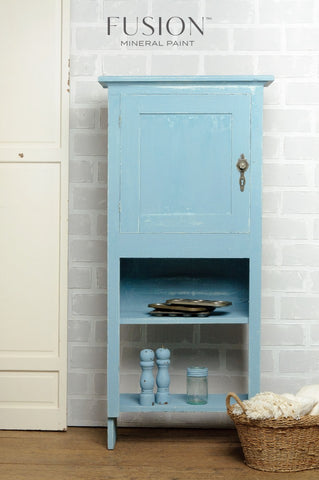 A cabinet painted in Champness Fusion Mineral Paint is pictured.