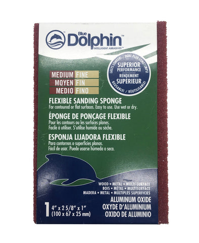 Pictured is a medium/fine sanding sponge in its Blue Dolphin packaging.