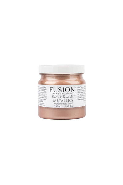 A 250ml container of Rose Gold Metallic Fusion Mineral Paint.