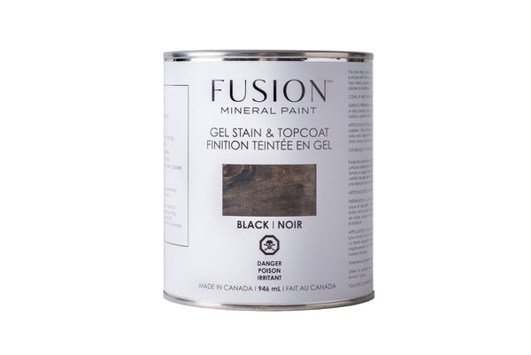 Pictured is a can of Fusion Gel Stain & Topcoat in Black.