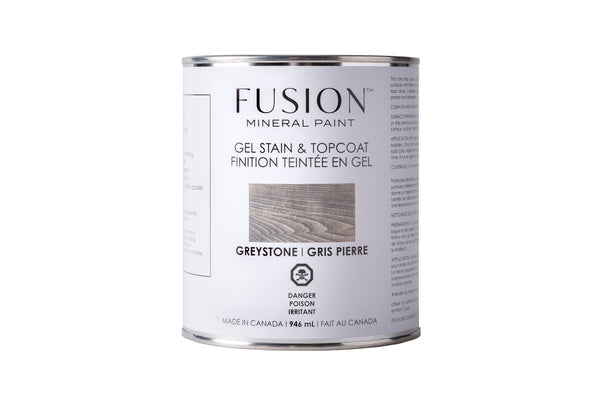 Pictured is a can of Fusion Gel Stain & Topcoat in Greystone.