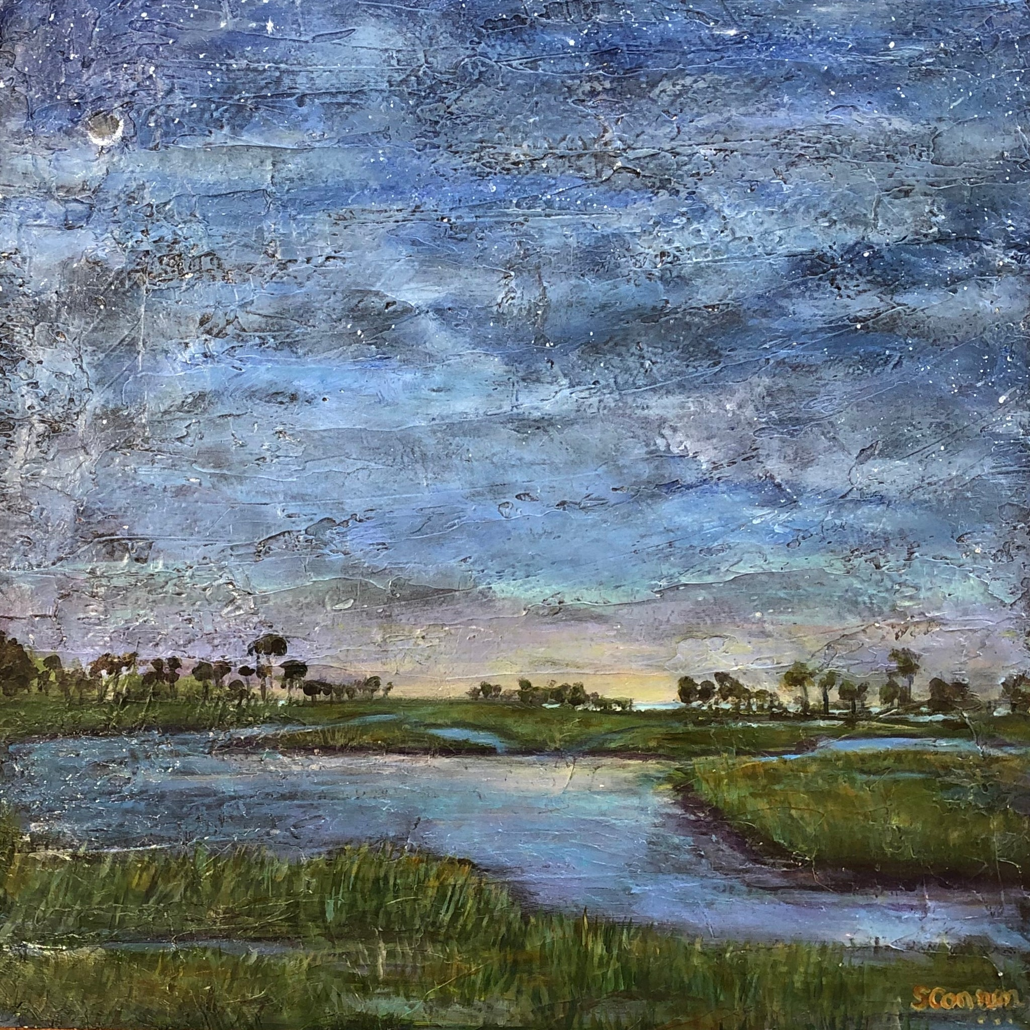 Pictured is a square painting of grasslands with paths of water zig zagging across them. There are trees in the distance. The painting is textured.