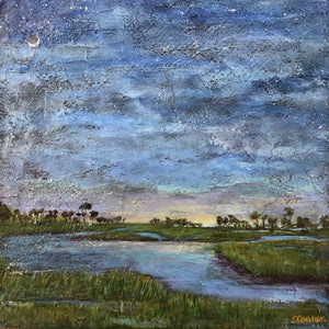 "Suzanne Conner Painting: ""Crescent Moon Over Grasslands"""