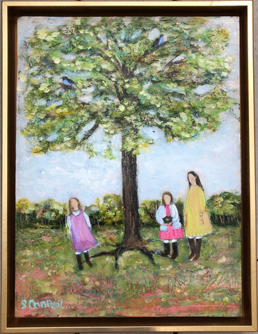 Pictured is a rectangular painting of three girls standing under a tree. One girl is short with blonde hair, another is also short but with dark hair, and the third is tall with dark hair.