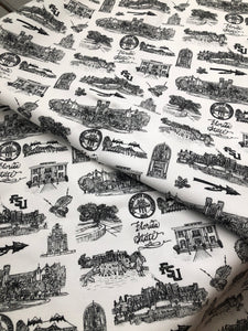 Pictured is Toile of FSU fabric. It is fabric printed with a black and white toile pattern depicting different scenes from around Florida State University, like the fountain on Landis Green and the President's Residence.