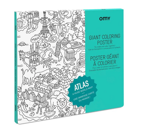 "Pictured is the packaging for the OMY Giant Coloring Poster Atlas. There is a detail of the poster, showing illustrations of various locations from around the world in a cute, cartoonish style. The cover reads ""OMY GIANT COLORING POSTER"" and ""ATLAS A HUGE WORLD MAP!"""