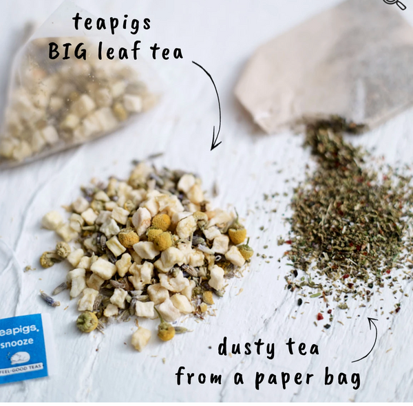 "Pictured are two piles of loose tea. One is unground and the other is ground. The unground tea has an arrow pointing at it with words that read ""teapigs BIG leaf tea."" The ground tea also has an arrow pointing toward it and the words ""dusty tea from a paper bag."""