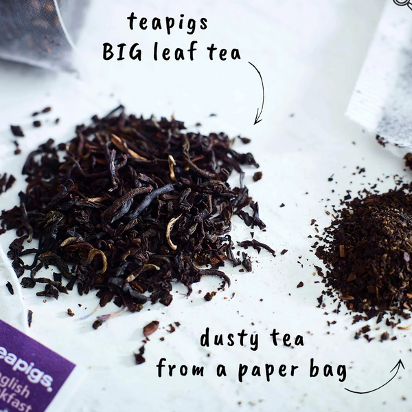 "Pictured are two piles of loose tea. One has big leaves and one is ground. The pile with leaves has an arrow pointing at it and the words ""teapigs BIG leaf tea."" The ground pile has an arrow and the words ""dusty tea from a paper bag."""