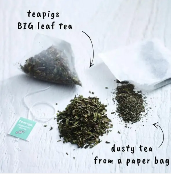 "Pictured are two piles of loose tea. One has leaves and the other is completely ground. The pile with leaves has an arrow pointing toward it with the words ""teapigs BIG leaf tea."" There is another pile of ground tea with an arrow and the words ""dusty tea from a paper bag."""