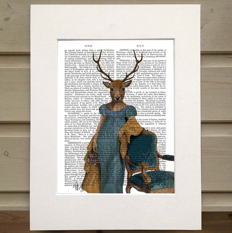 Pictured is a page from a book. Printed over the type is a old fashioned portrait of a woman wearing a blue dress with a tan shrug falling from her shoulders. She leans on an ornate chair. Instead of a human head and face, she has the head of a deer.