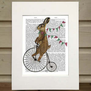 Rabbit on Penny Farthing Book Print