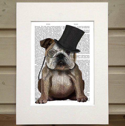 English Bulldog Formal Book Print