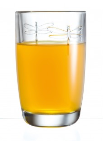 Pictured is the dragonfly juice glass full of orange juice.