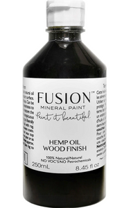 A 250mL bottle of Fusion Hemp Oil Wood Finish is pictured.